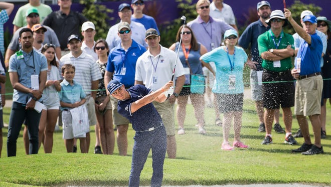 June 8, 2017 - Rickie Fowler hits out of the sand trap towards the 18th green during the first round of play of the 60th annual FedEx St. Jude Classic at TPC Southwind.
