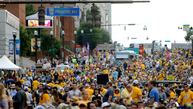 Fans pack Broadway before Game 6 of the Stanley Cup Final on Sunday, June 11, 2017.
