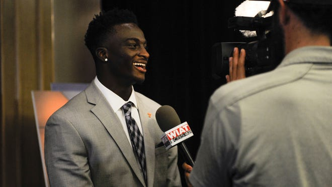 Tennessee senior Emmanuel Moseley is interviewed Monday at SEC Media Days in Hoover, Ala.