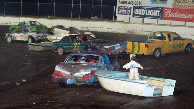 "Your boat may not survive ""Waterless Boat Racing"" at Havasu 95 Speedway."