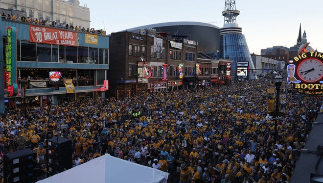 Predators fans packed Broadway as the team advanced to the Stanley Cup Final in 2017.