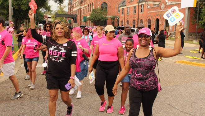 Smiles abounded at Saturday's annual American Cancer Society Making Strides Against Breast Cancer Walk. Alvin Benn/Special to the Advertiser