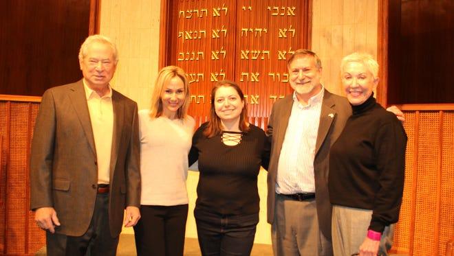 Honoring the late Rabbi Elliot Stevens Sunday, were left: John Ives, Kerry Blieberg, Elana Hagler, Rabbi Scott Kramer and Joy Blondheim. Alvin Benn/Special to the Advertiser