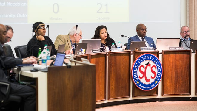 The Shelby County Schools board listens during the public comment section of its meeting Jan. 30, 2018.