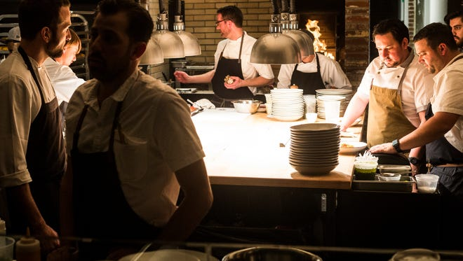 Andy Ticer (forefront) and Michael Hudman (right front) are semifinalists for the James Beard Best Chef: Southeast  2018 award.
