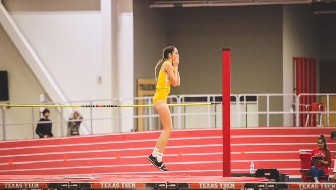 Angelo State University's Kaitlin Lumpkins reacts after clearing a new personal record earlier in 2018. The senior from Junction won the national championship Friday, March 9, 2018, in the women's high jump at the NCAA Division II Indoor Track & Field Championships in Pittsburg, Kansas.