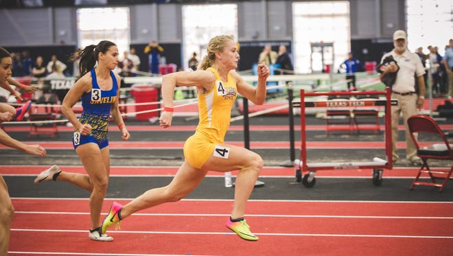 Angelo State University's Kami Norton is the national champion in the women's indoor pentathlon, which she won during competition Saturday, March 10, 2018 at the NCAA Division II Indoor Track and Field Championships in Pittsburg, Kansas.