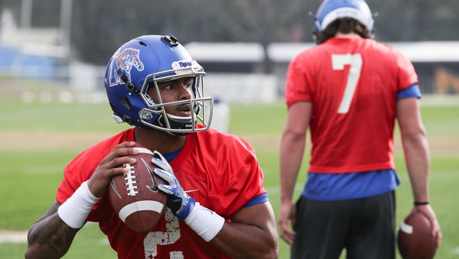 March 17, 2018 - Quarterback David Moore during the Tigers' first practice of the 2018 season.