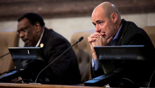 Councilman Greg Landsman listen to testimony at the at council's Law and Public Safety Committee meeting where Kyle Plush's death was discussed inside the Council Chambers at City Hall in downtown Cincinnati Tuesday, April 17, 2018.