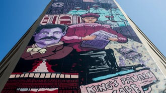 July 13, 2018 - The mural at MLK Avenue and S. Main was a collaboration between local artist Michael Roy and former Memphian Derrick Dent. The 80-foot-tall mural on the side of a parking garage features a visual timeline of the area around the mural and includes a contraband camp, Beale Street Baptist Church, Ida B. Wells, African-American Union soldiers, Robert Church, the Cotton Jubilee, the Daisy Theater, Monroe Housing and the Universal Life Insurance Company building before ending with a family at sidewalk level.