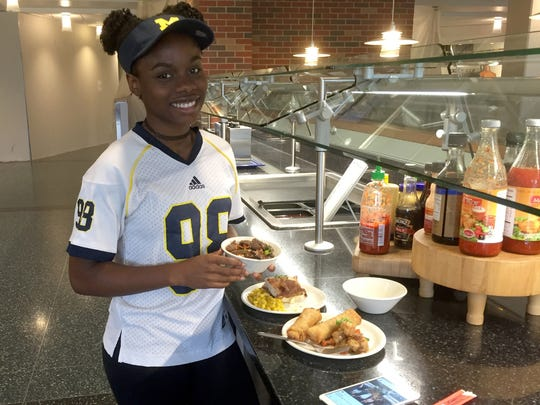 Zahria Jordan, 18, of Detroit dines at Hill Dining Hall at Dining at the University Michigan.