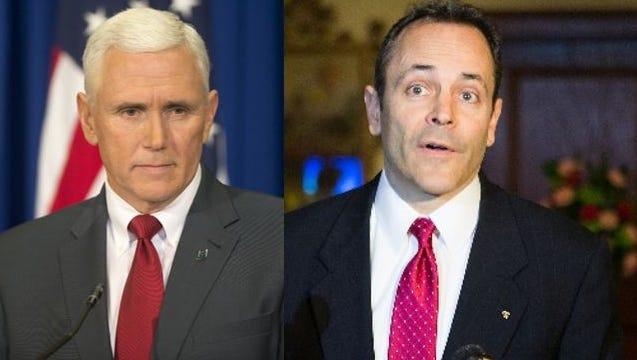 Indiana Gov. Mike Pence, left, and Kentucky Gov. Matt Bevin.