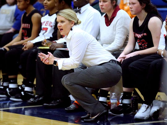 Stewarts Creek coach Lindy King watches her team during a 2017 game. The Lady Red Hawks reached the AAA state basketball tournament for the first time.