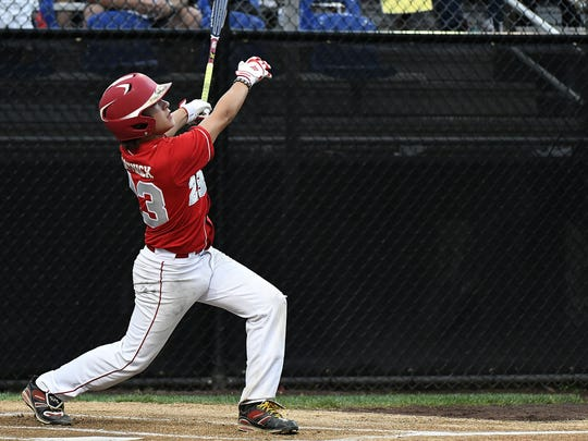 New Jersey's Chris Cartnick rips a solo home run during the Mid-Atlantic Regional Final at the Eastern Regional Little League Tournament at Breen Field in Bristol Saturday night.