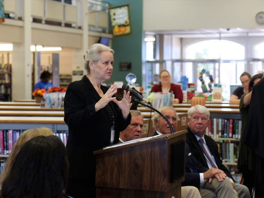 Jackson-Madison County Library Director Dinah Harris speaks at the 50th anniversary celebration for the library on Sept. 15, 2018.