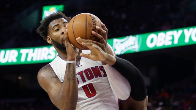 Detroit Pistons center Andre Drummond (0) pulls down a rebound during the second half of an NBA basketball game against the Indiana Pacers, Tuesday, Nov. 3, 2015, in Auburn Hills, Mich., (AP Photo/Carlos Osorio)