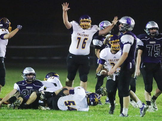 Sheboygan Falls celebrates during the final play against