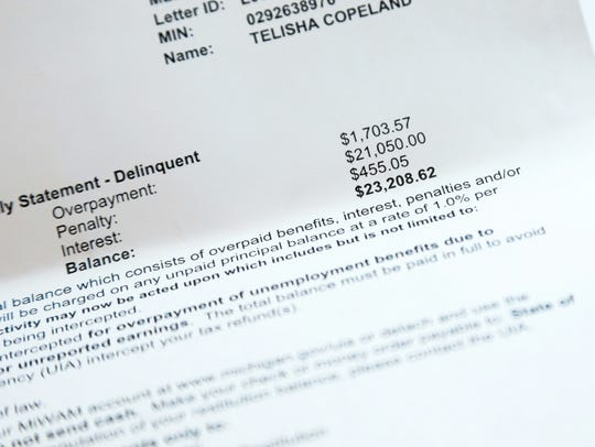Statements showing debt and payment that Telisha Copeland,