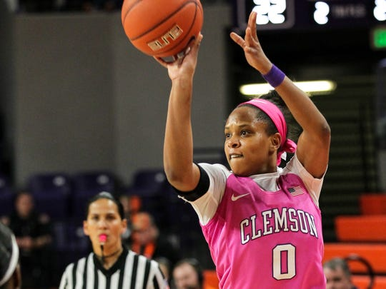 Clemson junior wing Nelly Perry (0), shown shooting against Notre Dame on Feb. 16, has been the Tigers' leading scorer for the past two seasons.