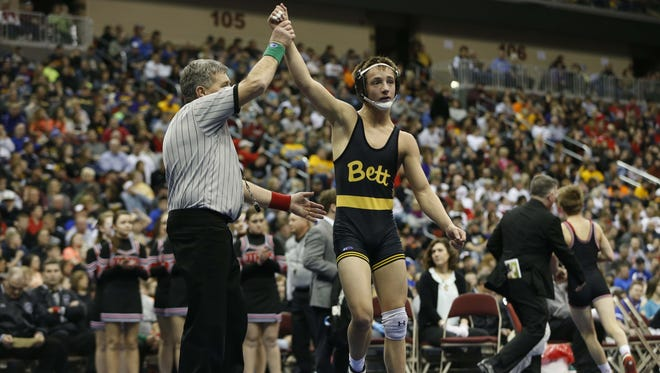 Bettendorf's Jack Wagner wins in the finals of their 3A-113 match Saturday, Feb. 21, 2015, at the State Wresting Tournament at Wells Fargo Arena in Des Moines.