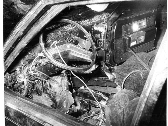 """The interior of Salvatore """"Sammy G"""" Gingello's car after the bombing that killed him in 1978."""