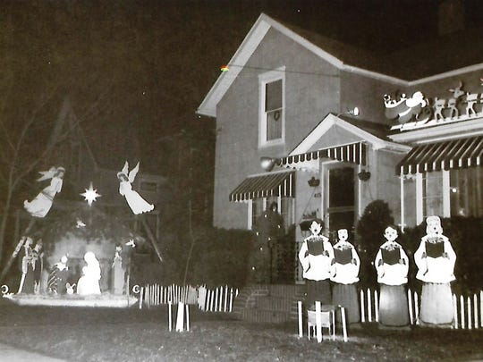 A Christmas display in the yard of the Tressler family from 1958, including an 8-foot-by-11-foot nativity built by Chelcer Tressler.
