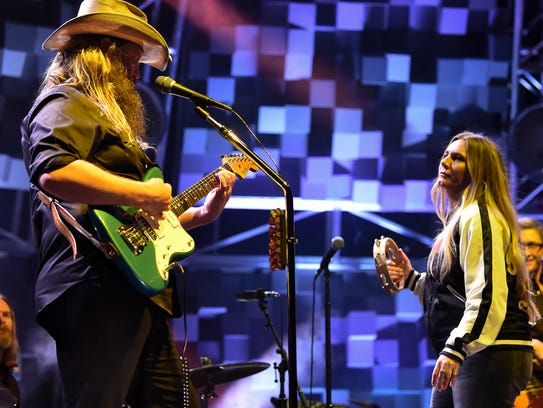 "Chris Stapleton performs during his ""All American Road Show"" concert at Bridgestone Arena in Nashville on Oct. 13, 2017."
