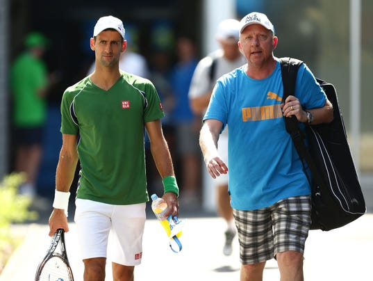 2014-01-14 Boris Becker Novak Djokovic team