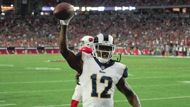 Los Angeles Rams receiver Sammy Watkins (12) scores a touchdown during the second half on Dec. 2 against the Arizona Cardinals at University of Phoenix Stadium.