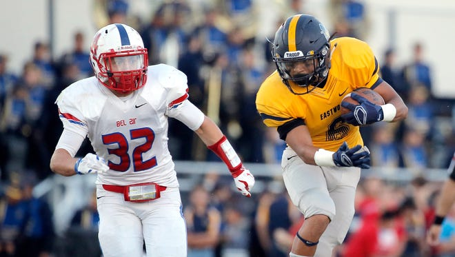 Eastwood running back Manny Acosta cuts through the Bel Air defense Friday.
