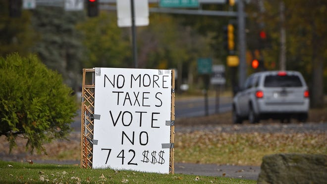 A yard sign along Clearwater Road in St. Cloud shows opposition to the District 742 referendum.