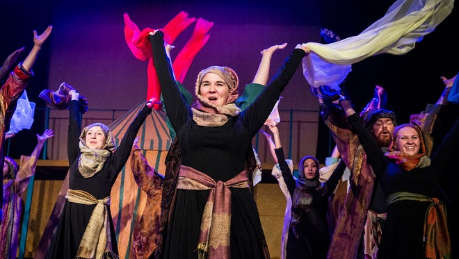 The cast of Joseph and the Amazing Technicolor Dreamcoat rehearse at the Muncie Civic Theatre Tuesday night.