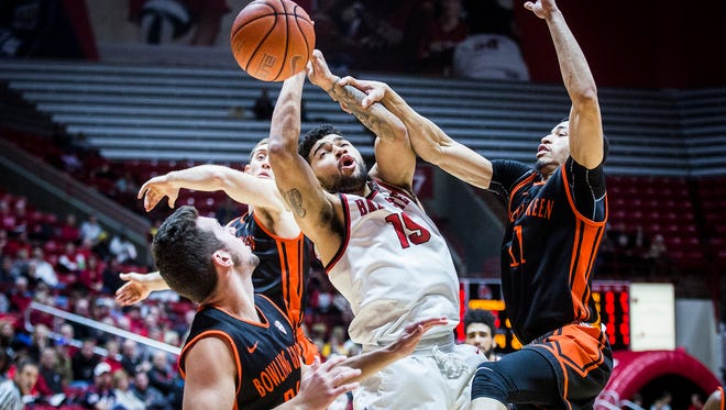 Ball State's Franko House struggles against Bowling Green's defense during their game at Worthen Arena Saturday, Jan. 7, 2017.