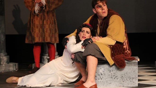 "Samantha Rickard is Esmeralda and Jonnie Carpathios is Quasimodo in ""Hunchback of Notre Dame"" at Barn Theatre."