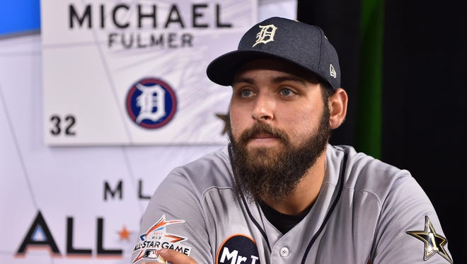 American League pitcher Michael Fulmer during a media availability one day before the 2017 MLB All Star Game at Marlins Park.