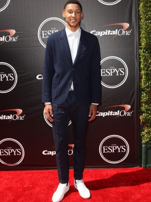 Basketball player Ben Simmons arrives at the ESPY Awards at the Microsoft Theater on Wednesday, July 15, 2015, in Los Angeles. (Photo by Paul A. Hebert/Invision/AP)