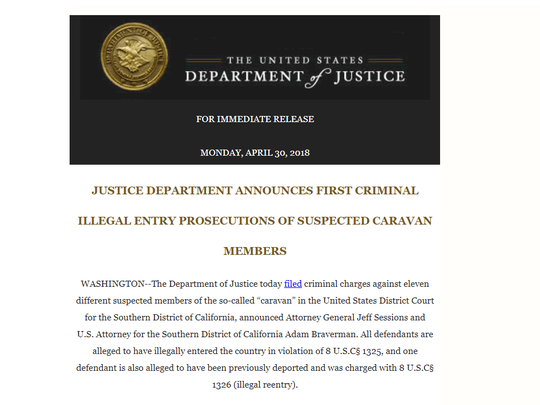 Screenshot of the U.S. Department of Justice news release announcing the prosecution of 11 people accused of illegal entry to the United States. The 11 were suspected to have been caravan members, according to the release.