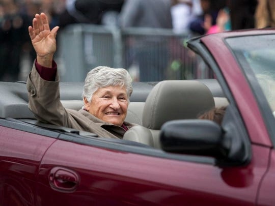 RETURN DAY: Former Delaware Governor Ruth Ann Minner rides in the Return Day parade through The Circle in Georgetown on Thursday.