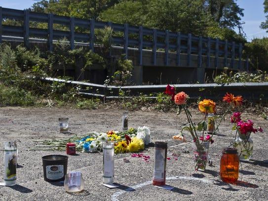 A memorial is set up for William Karecki at Veterans