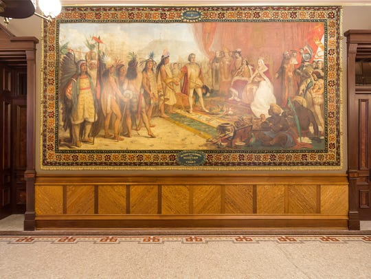One of the 12 Christopher Columbus murals in the Main Building on the University of Notre Dame campus.