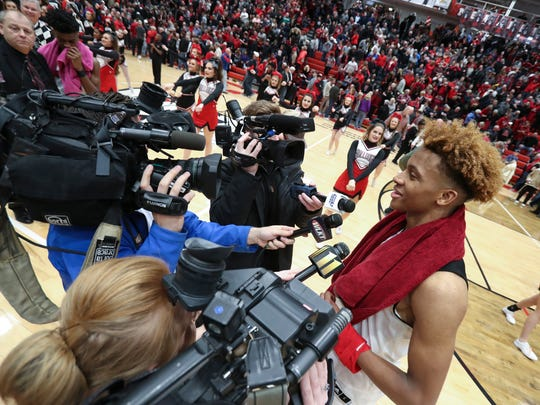 New Albany's Romeo Langford (1) was interviewed by