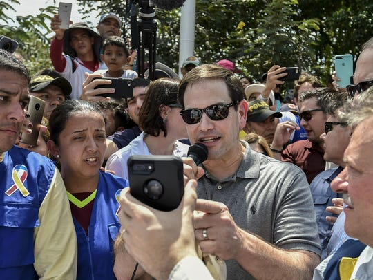 U.S. Sen. Marco Rubio speaks via a video call to Venezuelan opposition leader Juan Guaido.