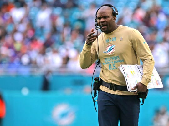 Nov 17, 2019; Miami Gardens, FL, USA; Miami Dolphins head coach Brian Flores reacts on the sidelines during the third quarter  against the Buffalo Bills at Hard Rock Stadium. Mandatory Credit: Sam Navarro-USA TODAY Sports