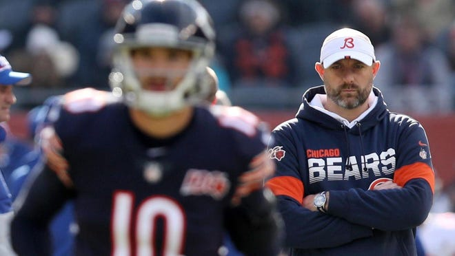 Bears coach Matt Nagy watches as quarterback Mitch Trubisky warms up for a game last season. The Bears open the 2020 season at noon Sunday against the Detroit Lions.
