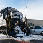 Vineland woman uninjured after crash into train