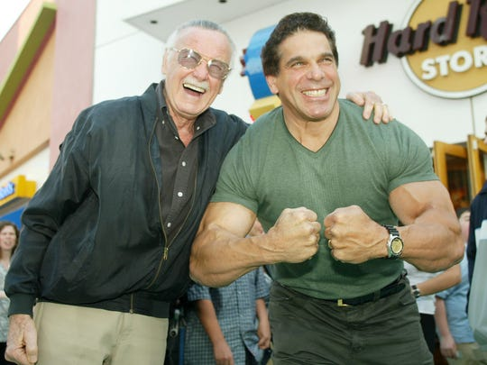 "The original Hulk, Lou Ferrigno, right, and Marvel Comics creator of ""The Hulk,"" Stan Lee on June 17, 2003, in Universal City, Calif."