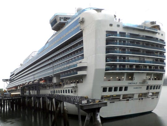 The Emerald Princess cruise ship is docked in Juneau, Alaska, Wednesday, July 26, 2017. The FBI investigated the domestic dispute death of a Utah woman on board the ship, which was traveling in U.S. waters outside Alaska. (AP Photo/Becky Bohrer)