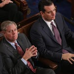 Lindsey Graham and Ted Cruz in the House Chamber at the U.S. Capitol on Jan. 28, 2014.