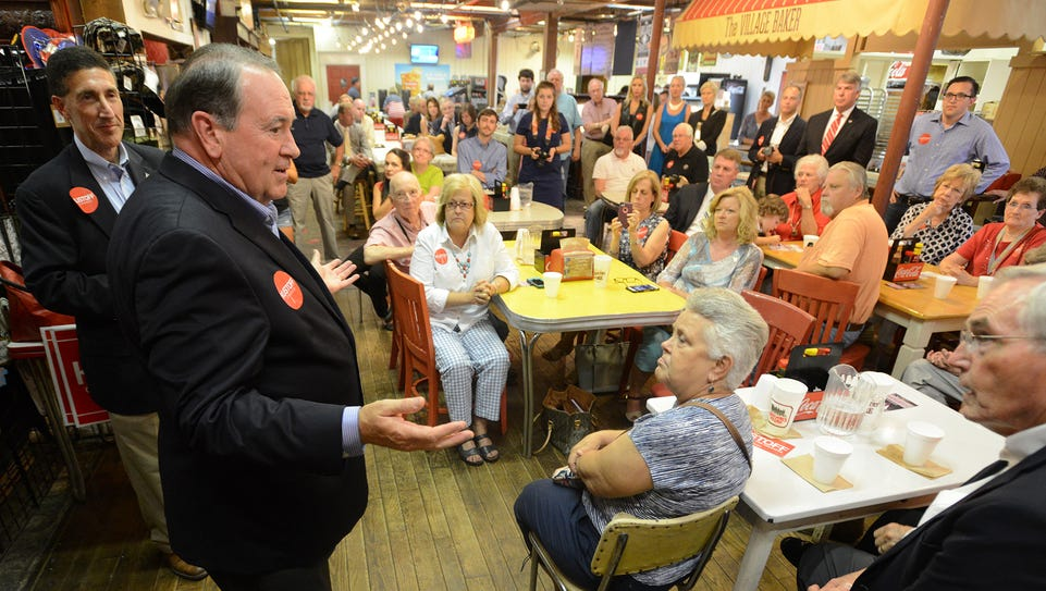Former Arkansas Gov. Mike Huckabee speaks at a campaign