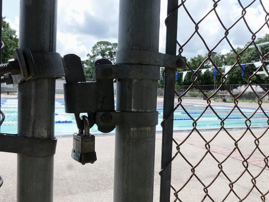 The O.J. Mouton Pool in Lafayette, Louisiana, was locked on July 8, 2017.